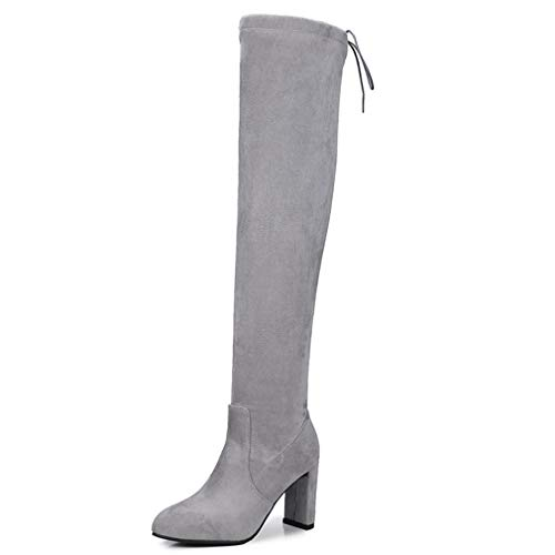 T-JULY Winter Fashion Women's Over-The-Knee Boots Lace up Thigh High Heels Sexy Boots Grey