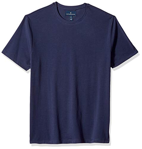 BUTTONED DOWN Men's Short-Sleeve Crew Neck Supima Cotton Stretch T-Shirt, Navy, ()