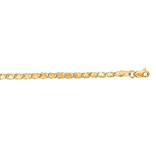 """Jaune 14 carats petit coeur lien Bracelet de cheville Femme - 10 """"- JewelryWeb"""