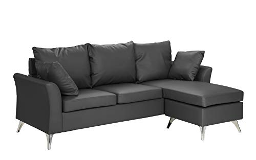 - Modern PU Leather Sectional Sofa - Small Space Configurable Couch (Dark Grey)