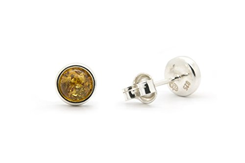 925 Sterling Silver Round Stud Earrings with Genuine Natural Baltic Amber.