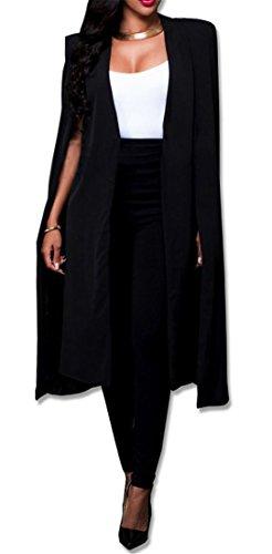 (lovecarnation Women Casual Open Front Cape Cloak Trench Duster Coat Longline Blazer Suit Coat Black S/Tag M)
