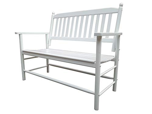 (Rockingrocker - A059WT White Outdoor Wood Garden Bench - Suitable for Indoor or Outdoor - Assembled Dimensions:W49.21 x H40.16 x D26.97 inches)
