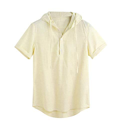 (Misaky Polo Shirts for Men Plus Size Tops Camisa Summer Cotton Hemp Hood Casual Short Sleeve Blouse Tee(Khaki, XXL))