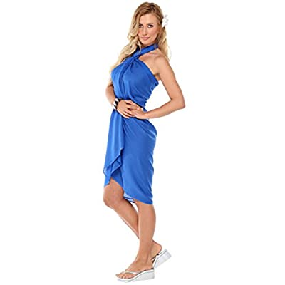1 World Sarongs Womens Solid Swimsuit Cover-Up Sarong in Blue at Amazon Women's Clothing store: Fashion Swimwear Cover Ups