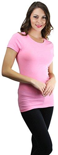 ToBeInStyle Women's Slim Fit Crew Neck Short Sleeve Longline Tee