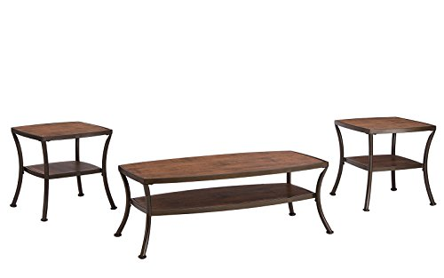 Shelve Cocktail Table Set (3 Piece Modern Rectangular Coffee Table and 2 End Tables Living Room Set (Light Brown))