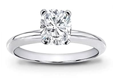 1 Carat Gia Certified Solitaire Platinum Cushion Cut Diamond Engagement Ring I Color Vvs1 Vvs2 Clarity Center Stones Center Stones