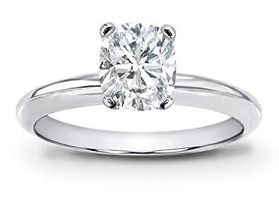 1 Carat GIA Certified Solitaire Platinum Cushion Cut Diamond Engagement Ring  (I Color VVS1-