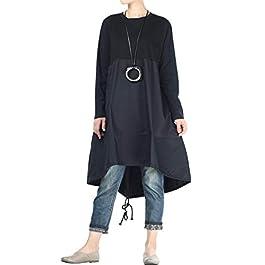 Vogstyle Women's New A line Dress Hi-Low Hem Long Blouse with Side Pockets