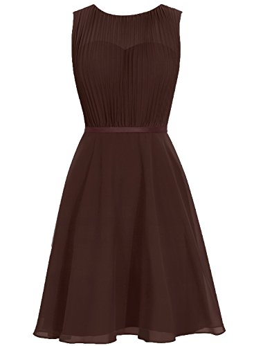 Dresses Brown Prom Sleeveless Cdress Wedding Cowl Gowns Bridesmaid Party Short Chiffon wX0qv