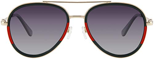 Double BridgeAviator Gold Green and Red Frame with Grey gradient Polarized Lens With Case and Cloth
