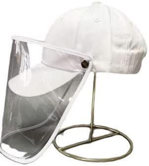 Adult Baseball Cap with Face Shield - White(Adjustable)