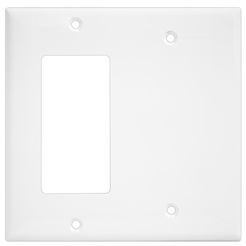 Enerlites 880131-W 2-Gang Blank/Decorator Wall Switch Plate, Standard Size, Unbreakable Polycarbonate, White