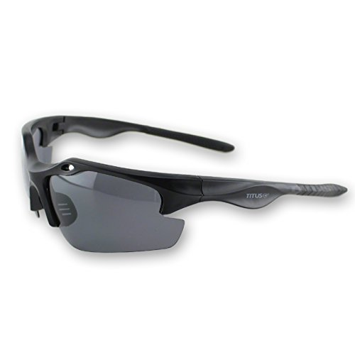 Titus G18 Polarized MotoSport Dark Smoke Sunglasses - Sports Riders Safety Glasses (Standard, - Mechanical Sunglasses