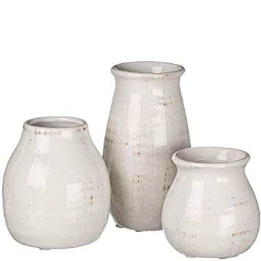Sullivans Small White Ceramic Vase Set, Rustic White Home Decor, Great for Centerpieces, Kitchen, Office or Living Room (CM2583)