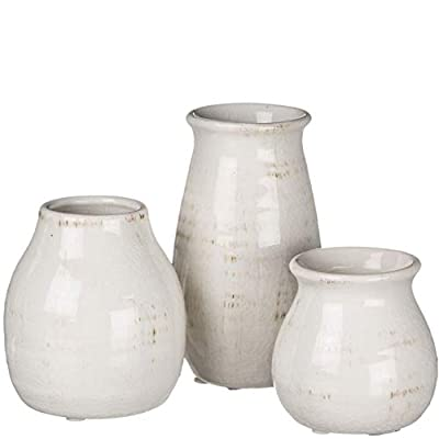 Sullivans Small White Ceramic Vase Set, Rustic White Home Decor, Great for Centerpieces, Kitchen, Office or Living Room (CM2583) - Add Some Rustic White Home Decor to Your Kitchen, Office or Living Room Distressed White Petite Vases Work Great for Beautiful Centerpieces Can Be Used for Real or Artificial Greenery or Flowers – Waterproof - vases, kitchen-dining-room-decor, kitchen-dining-room - 31RBPDWB2UL. SS400  -