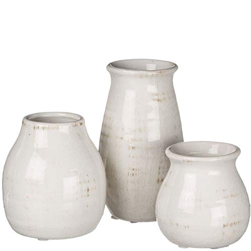 Rustic white French farmhouse style vase set for European country style interiors and decorating.