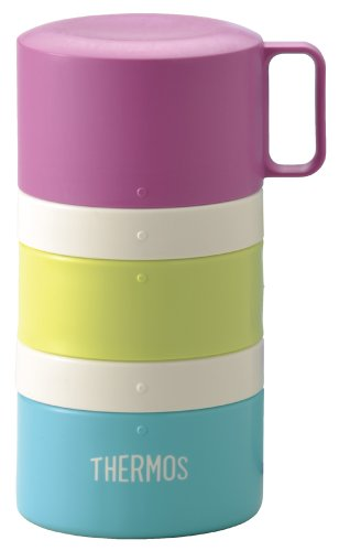 THERMOS Bottle-shape 3-Layer Bento Box 560ml Blue Border DJG-550 BLBD (Japan Import) by Thermos