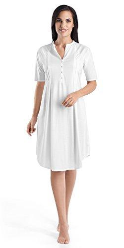 HANRO Women's Cotton Deluxe Short Sleeve Button Front Gown, White, Small