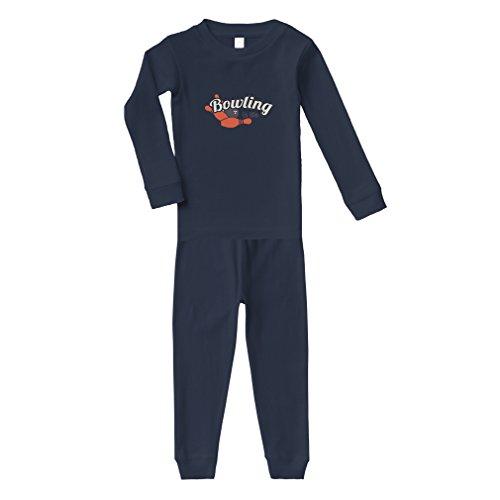 - Bowling is Life Sport Cotton Long Sleeve Crewneck Unisex Infant Sleepwear Pajama 2 Pcs Set Top and Pant - Navy, 5/6T