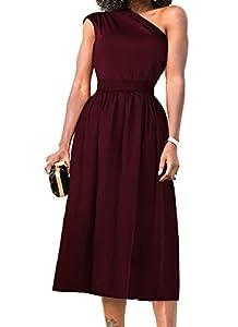 Nashion Womens One Shoulder Dress Formal Evening Elegant Sleeveless Midi Dresses Pockets