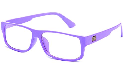 Newbee Fashion - Kayden Retro Unisex Plastic Fashion Clear Lens Glasses Lavender