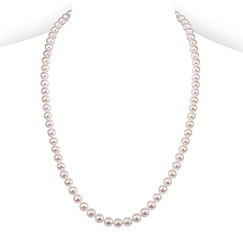 PAVOI Sterling Silver White Freshwater Cultured Pearl Necklace (24, 8mm) 8mm Pearl 24 Inch Necklace