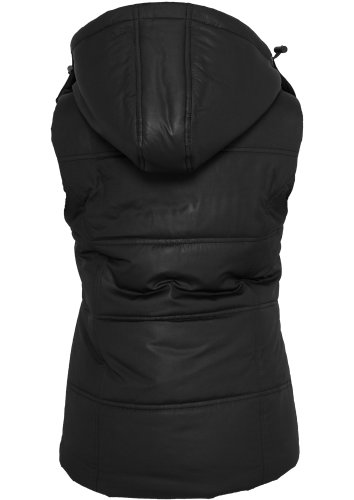Urban Classics Ladies Shiny Hooded Vest Black