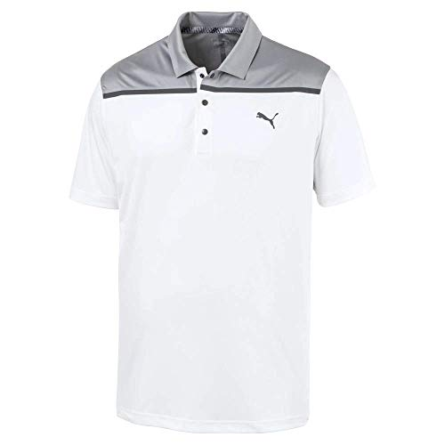 (Puma Golf Men's 2019 Bonded Colorblock Polo, Bright White, XX-Large)