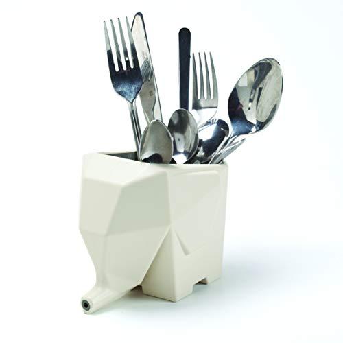 PELEG DESIGN Cutlery & Utensil Holder Jumbo Cute and Funny Plastic Elephant Sink Cutlery Organizer Drainer Storage Box and Toothbrush Holder - Cream