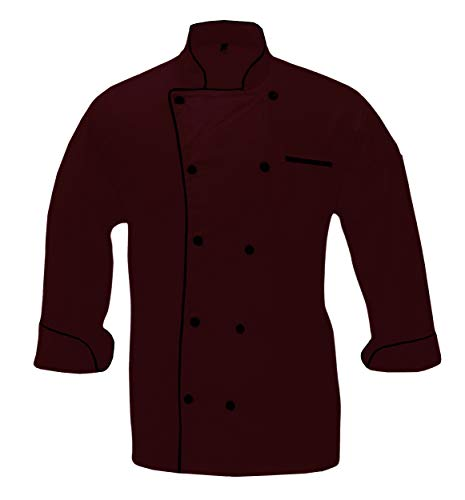 - Leorenzo Creation PN-71 Men's Chef Coat Black Piping (XS, Dark Red Colour)