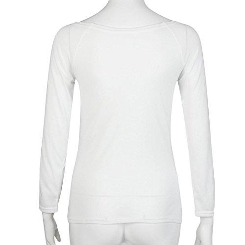 Camisas, Oyedens Las Mujeres De Manga Larga Con Cuello En V De Piel De Empalme De Clubwear Tops Blusa De La Camisa