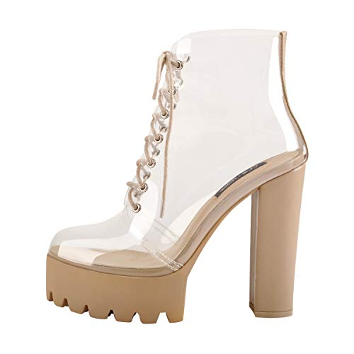 Onlymaker Women's Round Toe Gladiator Sandals Boots Clear Lace up Platform Block Heel Comfortable Shoes Size 12 ()