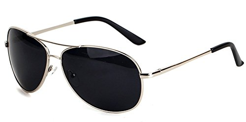 Premium Polarized Mirrored Aviator Metal Frame Sunglasses UV400 Protection Lens (Silver Frame-Black - For Big Round Nose Best Sunglasses Face