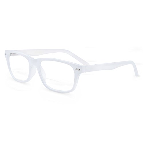 In Style Eyes Seymore Wayfarer BiFocal Reading Glasses White 1.75 White Reading Glasses