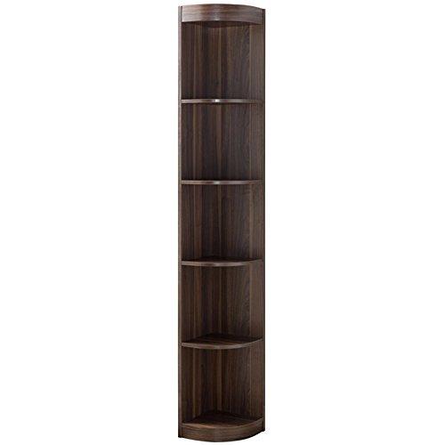 Furniture of America Ivy 5 Shelf Corner Bookcase in Dark Walnut