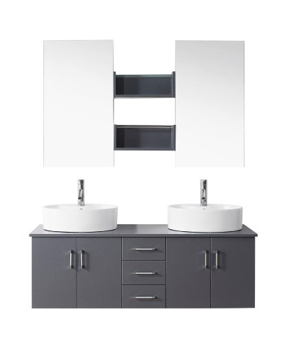 Virtu USA UM-3067-C-WH Modern 48-Inch Double Sink Bathroom Vanity Set with Polished Chrome Faucet, White on sale