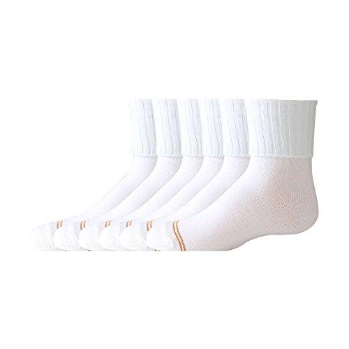 Gold Toe Girls' Big 6 Pack Turn Cuff, White, Large
