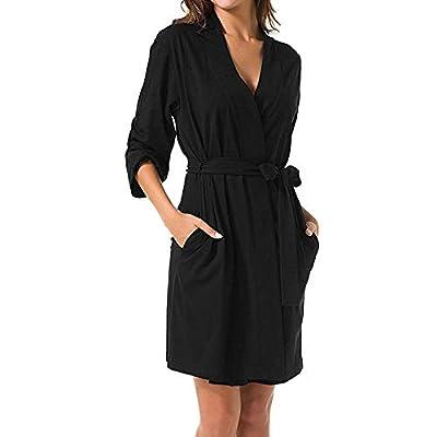 Kshion Womens Skirt Solid 3/4 Sleeved Robe Bandage Kimono Bathrobe Loungewear Nightdress Dress