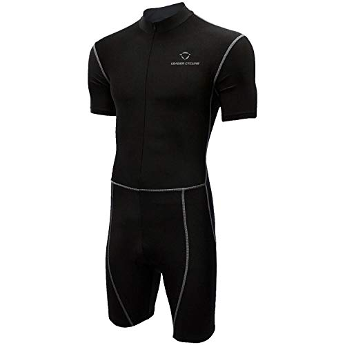 LEADER CYCLING Men's Triathlon Suit with Sleeves Compression Running Swimming Cycling Breathable Quick-Drying Tri Suit (Black, ()