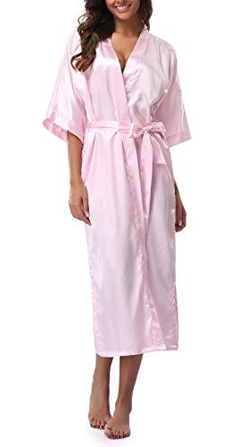 Womens Pure Color Long Satin Bathrobe Kimono Nightgown Long Dress Gown ()