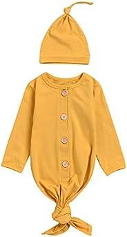 Yesbaby Newborn Infants Sleepwear Nightgown Baby Long Sleeve Robe Sleeping Bag with Hat for Boy Girl