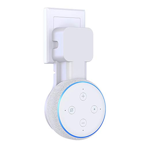 Supmega Wall Mount for Echo Dot 3rd Generation, No Sound Muffled, Space Saver Accessories, Built-in Wire Management Outlet Holder for Speakers (White)