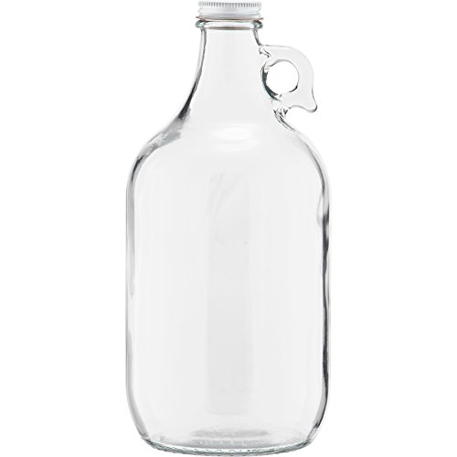 The Cary 30W64GW Glass Beer Growlers, 1/2 gal, 4.9' ID, Glass, Clear (Pack of 6)