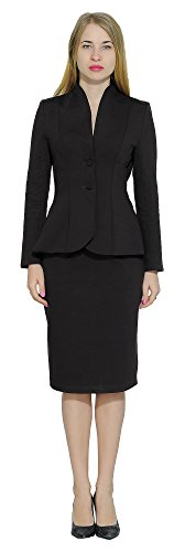 Marycrafts Women's Formal Office Business Work Jacket Skirt Suit Set 14 Black