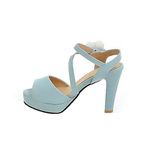 Unie Couleur Femme Petite Talon GMBLB013374 Sandales Haut Bleu AgooLar Velcro à Ouverture xqXfwI