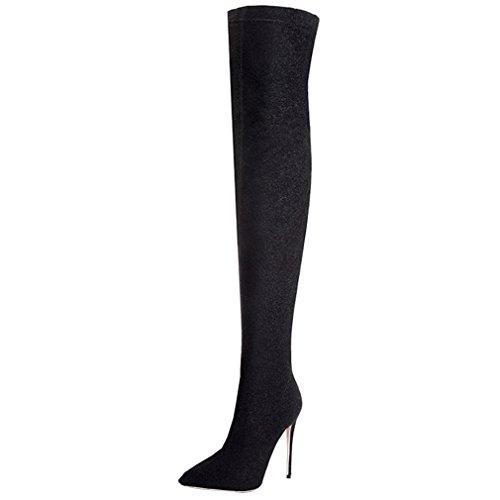 ENMAYER Mujer Sexy Tacones de tacón alto sobre el deslizamiento de botas de rodilla en los zapatos de fiesta Negro