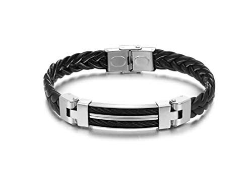 EoCot Stainless Steel Bracelet Rectangle Braided Black Bangle Bracelet for -
