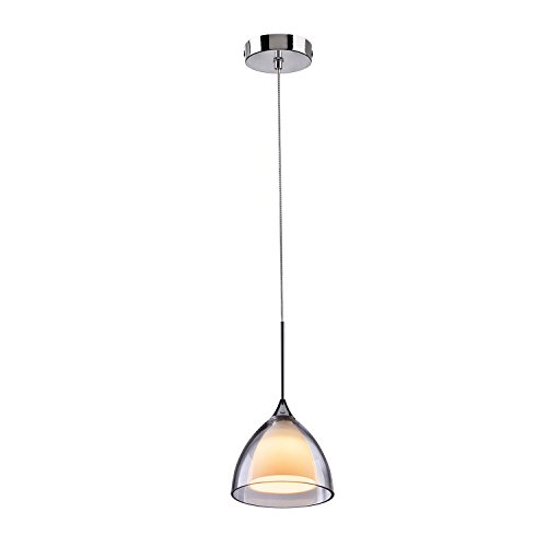 Torment 5W LED One-Light Adjustable Mini Pendant Light with Handblown Clear Glass,Polished Chrome,Dimmable (Kitchen/Bar Pendant Light ) ¡